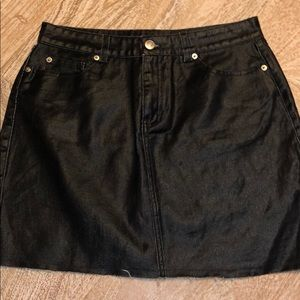 Forever 21 black jean denim skirt large shiny